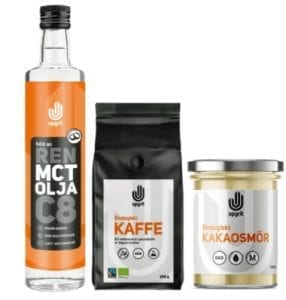 kaffepaket med mct olja fettkaffe och kakaosmör